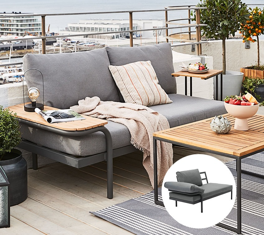 Small lounge sofa that can also serve as a garden sunbed on a balcony